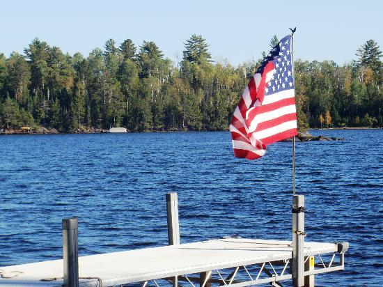 River Point Resort & Outfitting Co.: Old glory down at the dock
