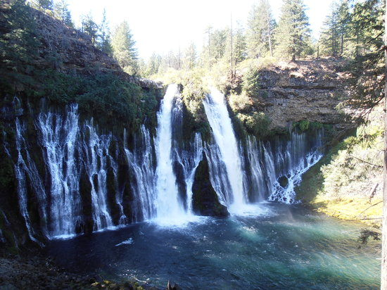 Burney Falls-water over the top and right out of the cliff