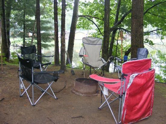 Bayley's Camping Resort: View from camper to firepit (next to pond)
