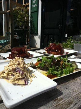 Locally Grown Gardens: Ginger slaw, mixed green salad and two open faced pork BBQ sandwiches.