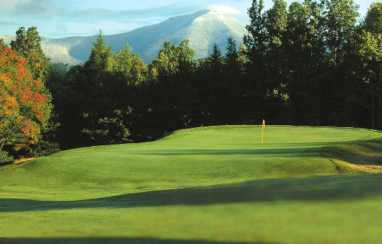 Lake Placid Club Golf Courses: A spectacular view of Whiteface Mountain greets you as you approach the green at the 10th hole o