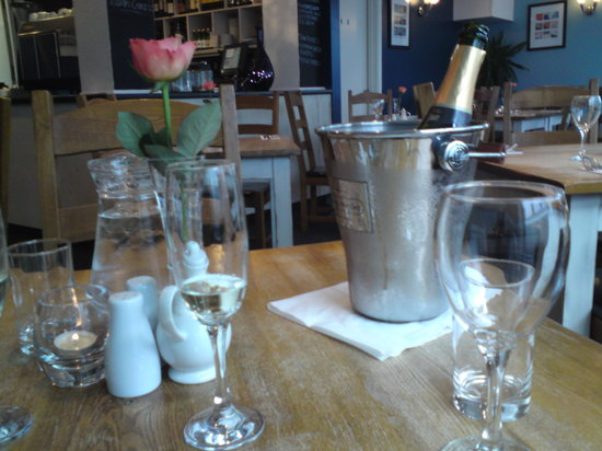 Amanzi: Our table and champagne