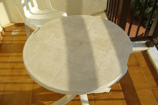 Grand Panorama Hotel: patio table dirty and broken room 202