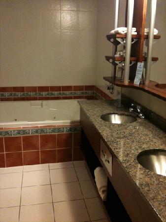 Hotel & Suites Le Dauphin Quebec : salle bain avec bain tourbillon enorme et douche a part