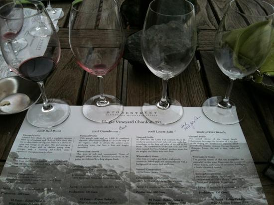 Stonestreet Winery: The tasting menu (the reds were from a shared tasting)