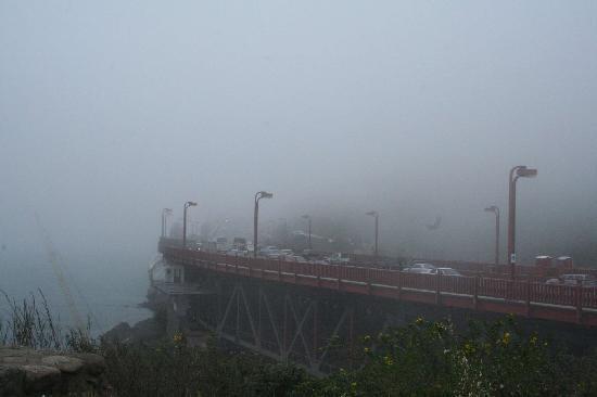 สะพานโกลเดนเกท: Suchbild - Wo ist die Brücke? Sicht von der Horseshoe Bay