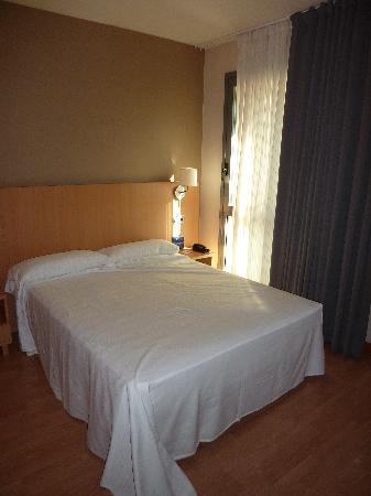 Hotel Palacio de Aiete: La cama al lado de la venta que da al patio de las bodas.