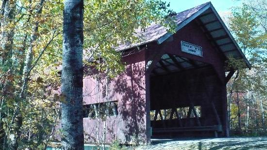 The Village Green at Stowe: Covered Bridge at the end of the bike path.