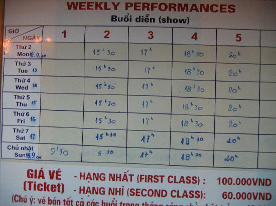 Thang Long Water Puppet Theater: Schedule of performance.