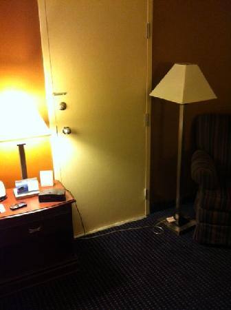 Inn of King of Prussia: Lighting cords strung across shared door