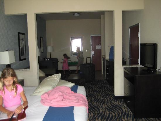 Holiday Inn Express Hotel & Suites Weatherford: from window looking toward the exit door