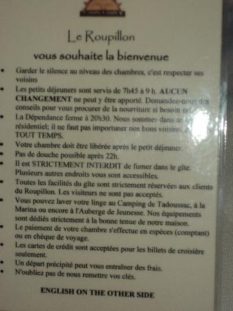 Le Roupillon : Consignes