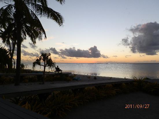 Aitutaki Escape: Sunset from the deck