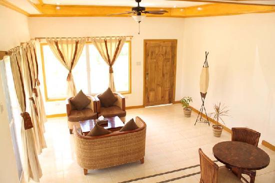 Palms Cove Bohol: Villa living room