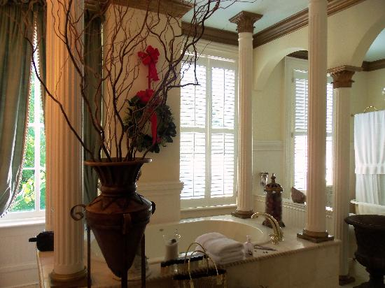The Olde Savannah Inn: The bathroom adjoins the bedroom...it was immaculately clean....breathtakingly beautiful...when