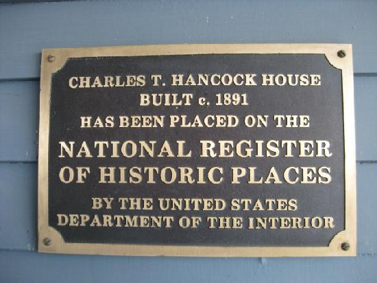 Hancock House B and B: The plaque