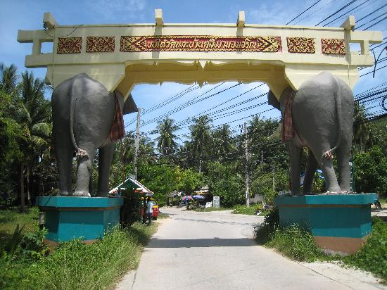 Wat Kiri Wongkaram: Rear of the Elephant Gate with the 4170 road beyond