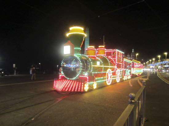 Blackpool, UK: one of the special trams during the illuminations