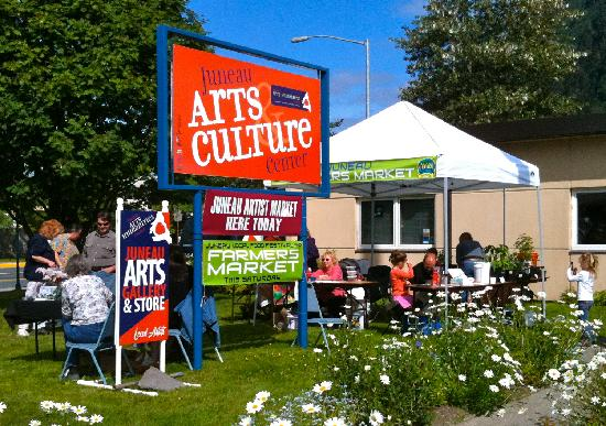 Juneau Arts & Humanities : Outdoor Market on the lawn during the summer