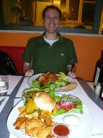 """The Diner: The """"Veggie burger"""", fries, and salad. Big portions."""
