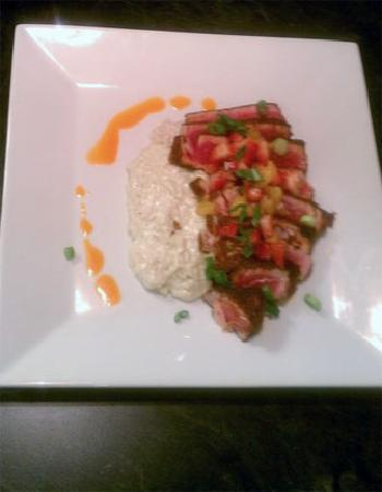 Neenah, WI: Blackened tuna with wasabi risotto topped with fruit salsa