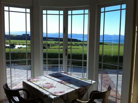 Wharekauhau Country Estate: view from the drawing room over palliser bay