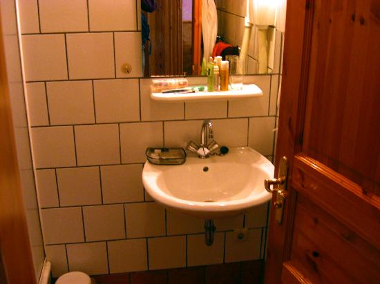 Pension Unicat: bathroom; tiny shower and WC unseen to left