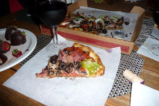 Marys Pizza Shack: Mary's pizza and red wine blend, Tytanium, from Ty Caton Winery.  Yumm!