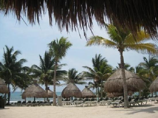 Mayan Palace at Vidanta Riviera Maya: beach with drink service--always could find a great seat in the sun or shade