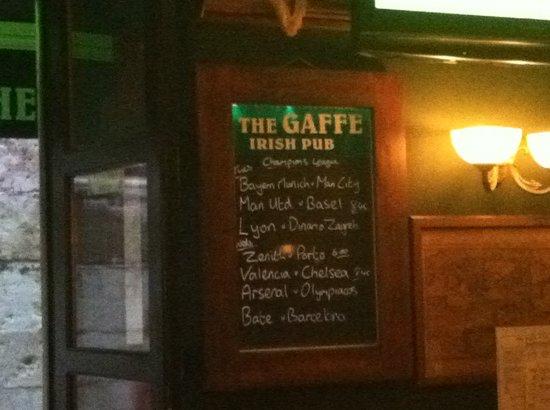 The Gaffe Pub: Gaffe Sports Board
