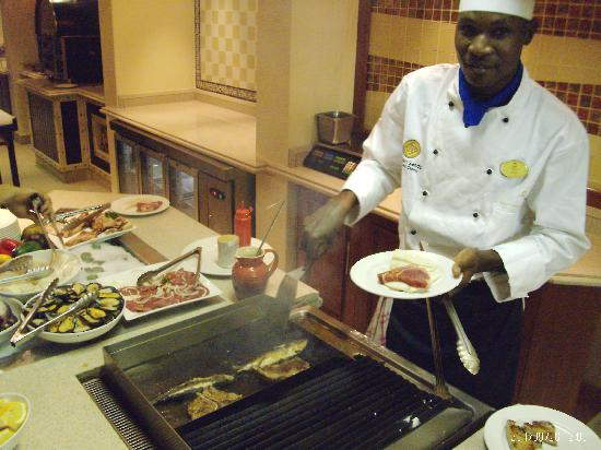 Kalahari Sands Casino: A kind of Mongolian barbecue thing. Pick your meat and this guy cooks it up. REALLY good.