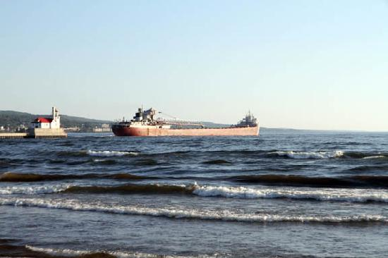 Solglimt Bed & Breakfast: Large ship that goes past while enjoying the beach in back of house.