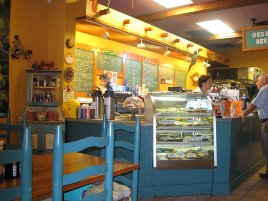 Sunburst Cafe: The owner at the counter