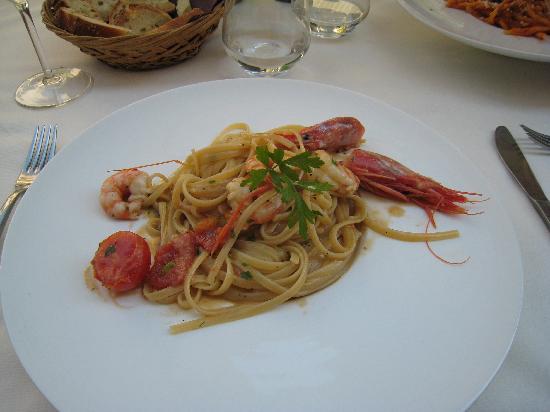 Ti Vitti: Home made fettucini with king prawns and langoustines