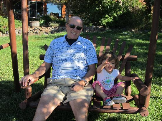 Cedars' Edge Llamas Bed and Breakfast: Relaxing with grandpa
