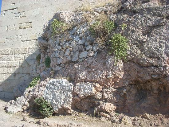 A detail of the ancient fortification wall around the Acropolis.
