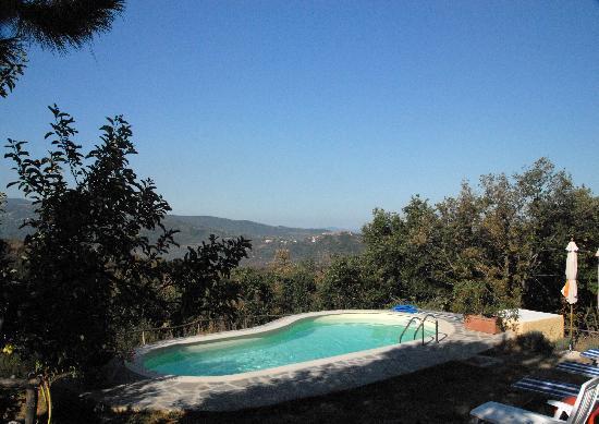 Borgo Tepolini: La piscina con vista sulla valle