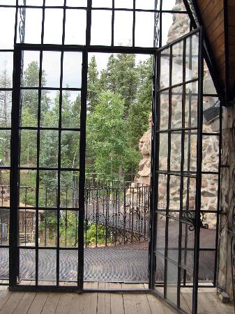 Westcliffe, CO: Door from grand hall to wrought iron balcony/walkway
