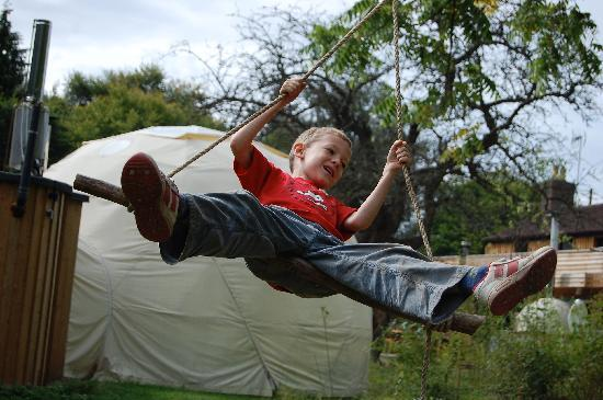 Dome Garden: Our son on one of the rope swings outside our dome