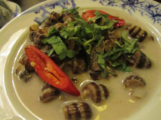 Cuc Gach Quan: mud snails in coconut sauce. not too bad, but i had to eat the whole dish myself and felt a bit
