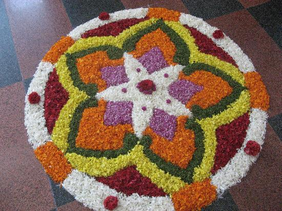 Sajhome: Flower carpet at autumn festival.