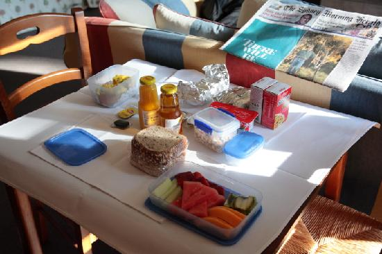 Parklands Country Gardens and Lodges: Our first breakfast basket - croissants and muffins still in tin foil