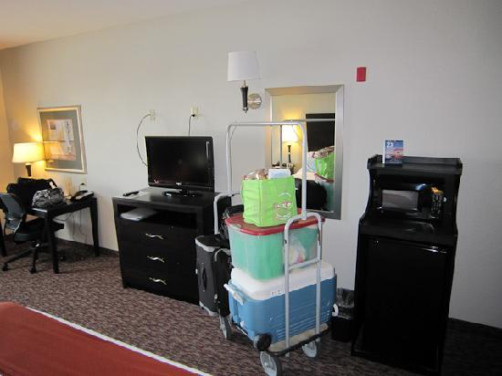 Holiday Inn Express Hotel & Suites Fort Stockton: TV, our gear and mini-fridge