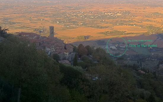 Seven: view of the hotel from just above Cortona