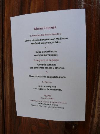 Acio: menu mediodia