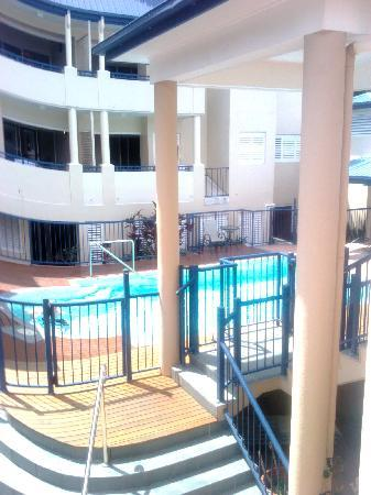 The Newport on Macrossan: Overlooking the pool from the back balcony