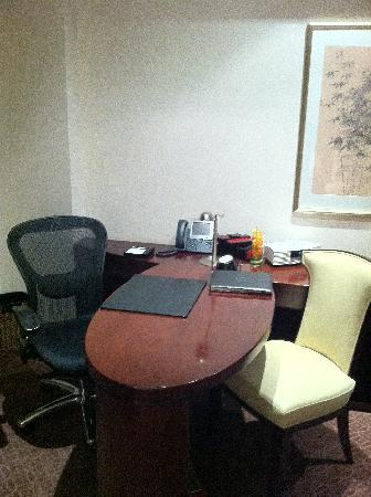 Fairmont Beijing : desk area with lan cable for internet or wifi