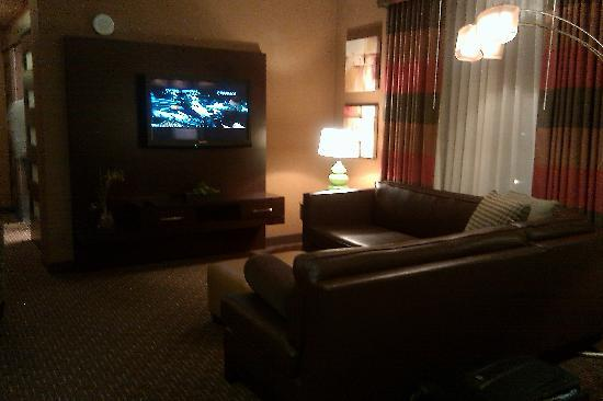 Golden Nugget Hotel: Rush Tower Suite - offers guests sectional couch seating as well as two comfy arm chairs