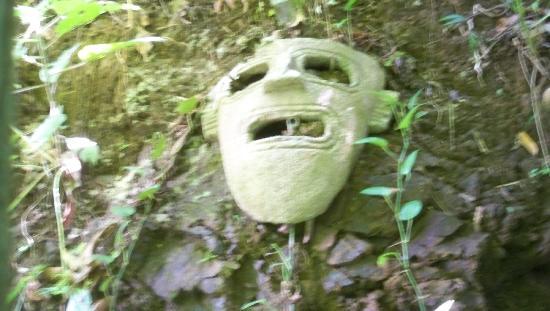 Golfito Marina Vista Villas: Mask on hillside outside shower