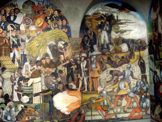 Zocalo : Wandgemälde in Palacio Nacional von Diego Rivera